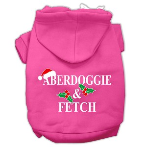 Aberdoggie Christmas Screen Print Pet Hoodies Bright Pink Size XS (8)