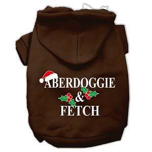 Aberdoggie Christmas Screen Print Pet Hoodies Brown Size S (10)
