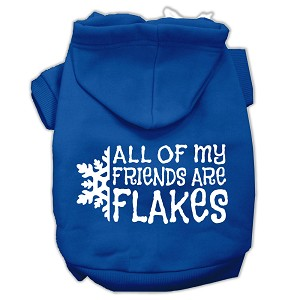 All my Friends are Flakes Screen Print Pet Hoodies Blue Size Lg (14)