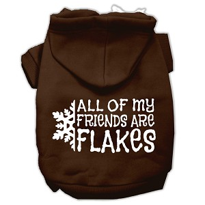 All my friends are Flakes Screen Print Pet Hoodies Brown Size M (12)