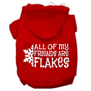 All my friends are Flakes Screen Print Pet Hoodies Red Size L (14)