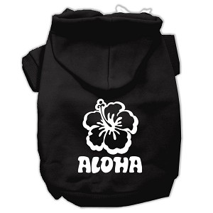 Aloha Flower Screen Print Pet Hoodies Black Size XXL (18)