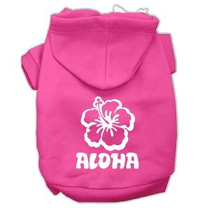 Aloha Flower Screen Print Pet Hoodies Bright Pink Size XS (8)