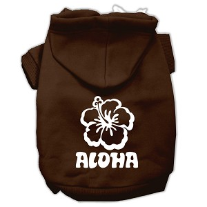 Aloha Flower Screen Print Pet Hoodies Brown Size Med (12)