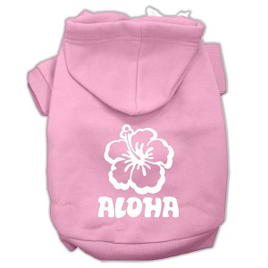 Aloha Flower Screen Print Pet Hoodies Light Pink Size XS (8)
