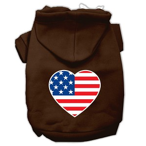 American Flag Heart Screen Print Pet Hoodies Brown Size XXL (18)