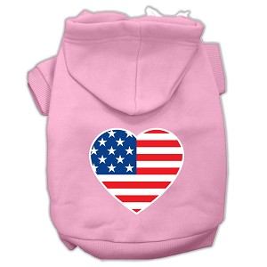 American Flag Heart Screen Print Pet Hoodies Light Pink Size Lg (14)