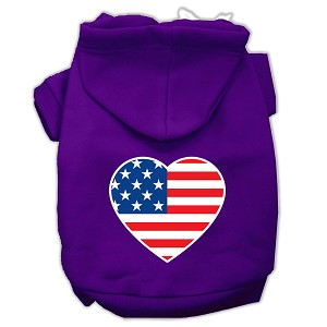 American Flag Heart Screen Print Pet Hoodies Purple Size XS (8)
