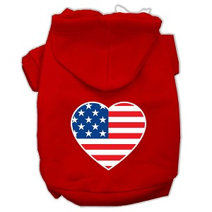 American Flag Heart Screen Print Pet Hoodies Red Size Lg (14)