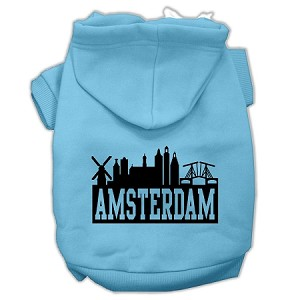 Amsterdam Skyline Screen Print Pet Hoodies Baby Blue Size XXL (18)