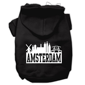 Amsterdam Skyline Screen Print Pet Hoodies Black Size Lg (14)