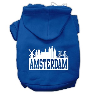 Amsterdam Skyline Screen Print Pet Hoodies Blue Size Sm (10)