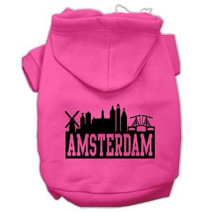 Amsterdam Skyline Screen Print Pet Hoodies Bright Pink Size Med (12)