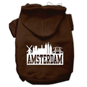 Amsterdam Skyline Screen Print Pet Hoodies Brown Size XL (16)
