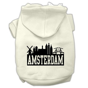 Amsterdam Skyline Screen Print Pet Hoodies Cream Size Med (12)