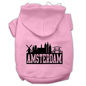 Amsterdam Skyline Screen Print Pet Hoodies Light Pink Size Lg (14)