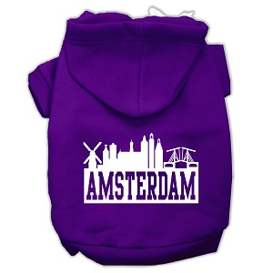 Amsterdam Skyline Screen Print Pet Hoodies Purple Size Lg (14)