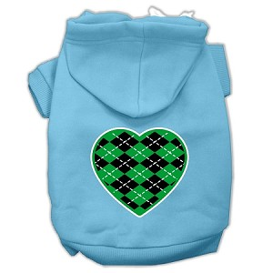 Argyle Heart Green Screen Print Pet Hoodies Baby Blue Size Sm (10)