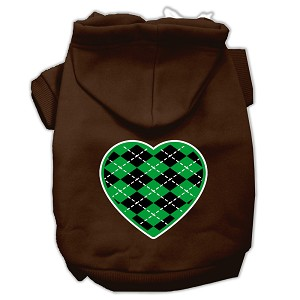 Argyle Heart Green Screen Print Pet Hoodies Brown Size Lg (14)