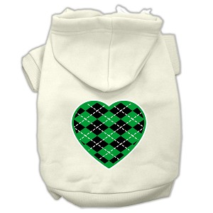 Argyle Heart Green Screen Print Pet Hoodies Cream Size S (10)