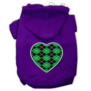 Argyle Heart Green Screen Print Pet Hoodies Purple Size XXXL (20)
