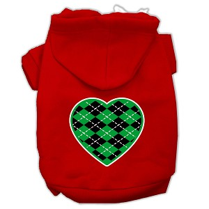 Argyle Heart Green Screen Print Pet Hoodies Red Size Lg (14)