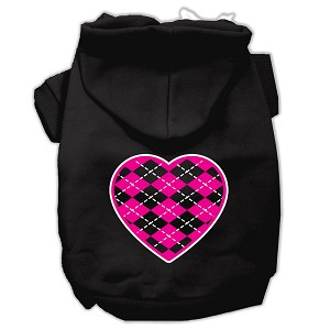 Argyle Heart Pink Screen Print Pet Hoodies Black Size XS (8)