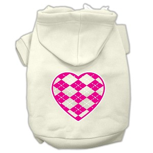 Argyle Heart Pink Screen Print Pet Hoodies Cream Size XS (8)