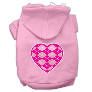 Argyle Heart Pink Screen Print Pet Hoodies Light Pink Size XL (16)