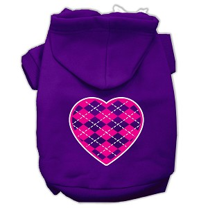 Argyle Heart Pink Screen Print Pet Hoodies Purple Size XL (16)