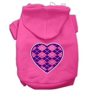 Argyle Heart Purple Screen Print Pet Hoodies Bright Pink Size XXL (18)