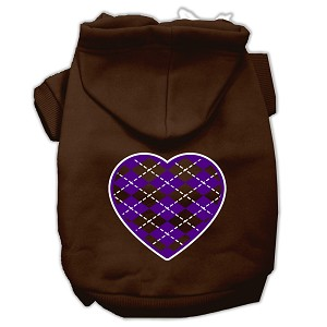Argyle Heart Purple Screen Print Pet Hoodies Brown Size XXXL (20)