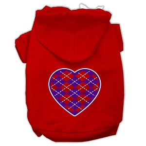 Argyle Heart Purple Screen Print Pet Hoodies Red Size Med (12)