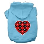 Argyle Heart Red Screen Print Pet Hoodies Baby Blue Size XS (8)