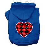 Argyle Heart Red Screen Print Pet Hoodies Blue Size Med (12)