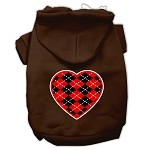 Argyle Heart Red Screen Print Pet Hoodies Brown Size XS (8)