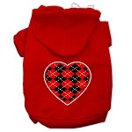 Argyle Heart Red Screen Print Pet Hoodies Red Size XS (8)