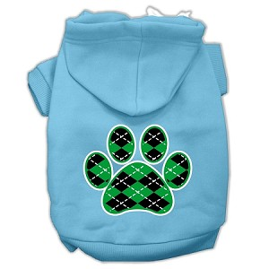 Argyle Paw Green Screen Print Pet Hoodies Baby Blue Size Lg (14)