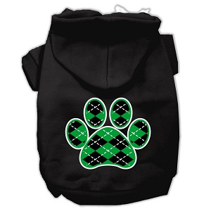 Argyle Paw Green Screen Print Pet Hoodies Black Size XS (8)