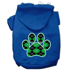 Argyle Paw Green Screen Print Pet Hoodies Blue Size XL (16)
