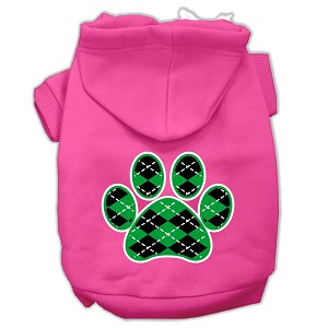 Argyle Paw Green Screen Print Pet Hoodies Bright Pink Size XXL (18)