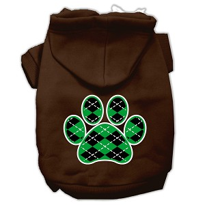 Argyle Paw Green Screen Print Pet Hoodies Brown Size Med (12)
