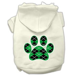 Argyle Paw Green Screen Print Pet Hoodies Cream Size M (12)