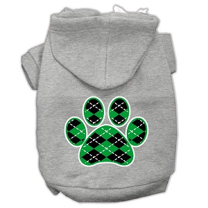 Argyle Paw Green Screen Print Pet Hoodies Grey Size XXXL (20)