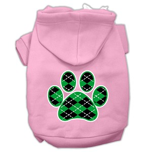 Argyle Paw Green Screen Print Pet Hoodies Light Pink Size XXXL (20)