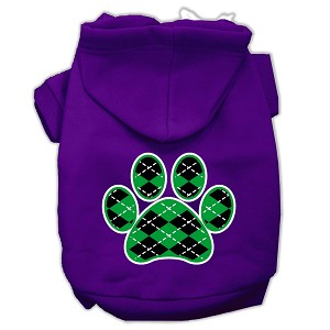 Argyle Paw Green Screen Print Pet Hoodies Purple Size XXL (18)