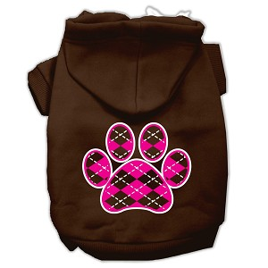 Argyle Paw Pink Screen Print Pet Hoodies Brown Size XL (16)