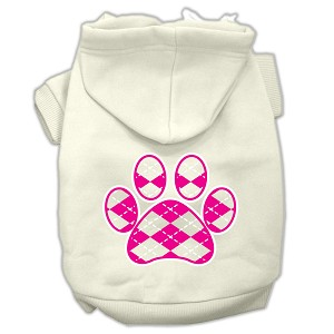 Argyle Paw Pink Screen Print Pet Hoodies Cream Size S (10)