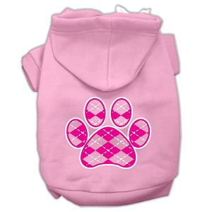 Argyle Paw Pink Screen Print Pet Hoodies Light Pink Size XL (16)