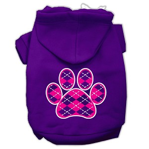 Argyle Paw Pink Screen Print Pet Hoodies Purple Size Med (12)